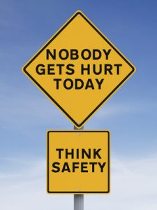 sign saying Nobody Gets Hurt Today!