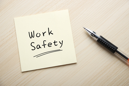 Work safety written on sticky note